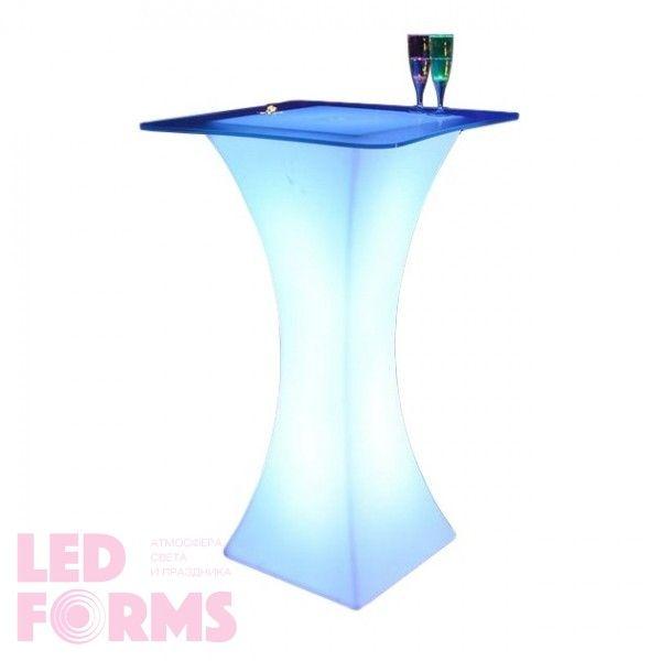 Стол барный светящийся LED Arcoro + стекло, светодиодный, высота 110 см., разноцветный (RGB), с аккумулятором