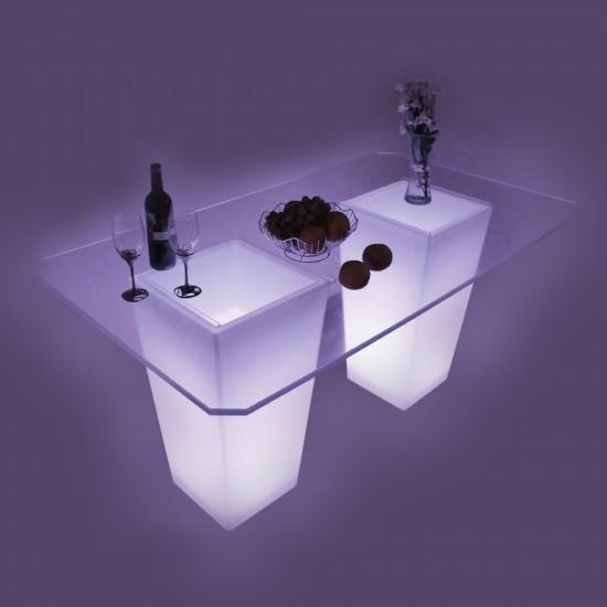 Стол барный светящийся LED Pacifico Double + стекло, светодиодный, высота 110 см., разноцветный (RGB), с аккумулятором