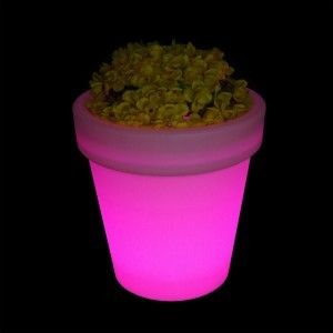Светящееся кашпо для цветов LED Alphen S, разноцветная RGB подсветка, с пультом ДУ, IP65