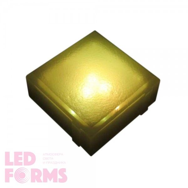 Плитка тротуарная светящаяся (светодиодная брусчатка) LED Brick, 100*100*40 мм., IP67, цвет жёлтый