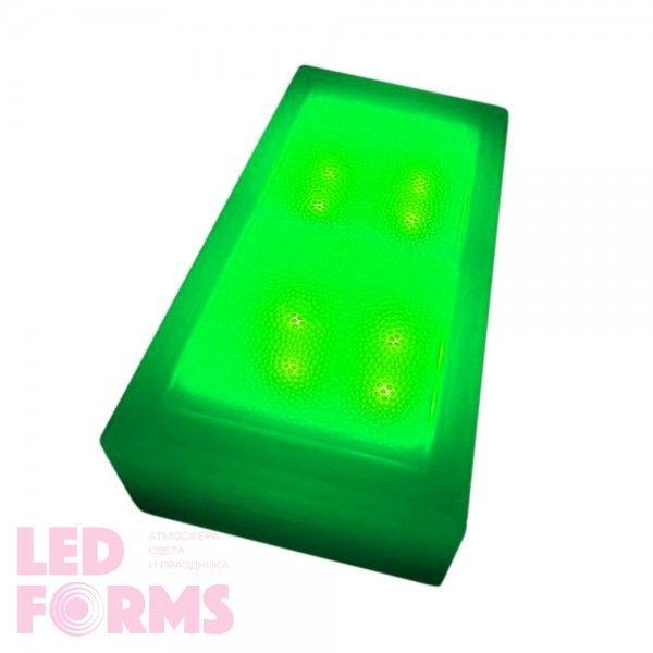 Плитка тротуарная светящаяся (светодиодная брусчатка) LED Brick, 100*200*40 мм., IP67, цвет зелёный