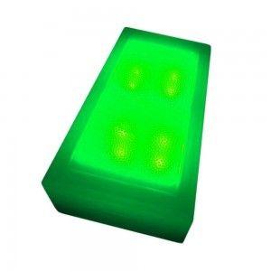 Светодиодная брусчатка LED Lumbrus, 100*200*40 мм., светильник для тротуарной плитки, зелёный, 12V, IP68