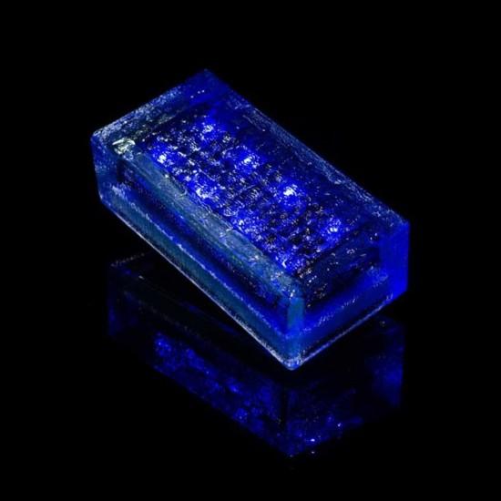 Плитка тротуарная светящаяся на солнечных батареях LED Brick Solar, 200*100*60 мм., IP67, цвет синий