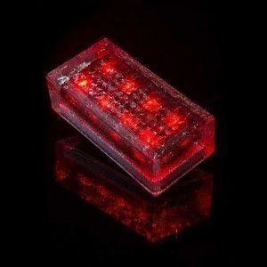 Плитка тротуарная светящаяся на солнечных батареях LED Brick Solar, 200*100*60 мм., IP67, цвет красный