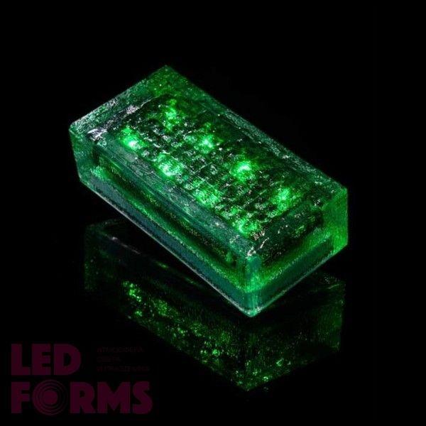 Плитка тротуарная светящаяся на солнечных батареях LED Brick Solar, 200*100*60 мм., IP67, цвет зелёный