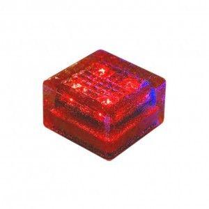"""Cветильник для тротуарной плитки """"Светодиодная брусчатка"""" LED Forms, 100*100*60 мм., IP68, красный, на солнечных батареях"""