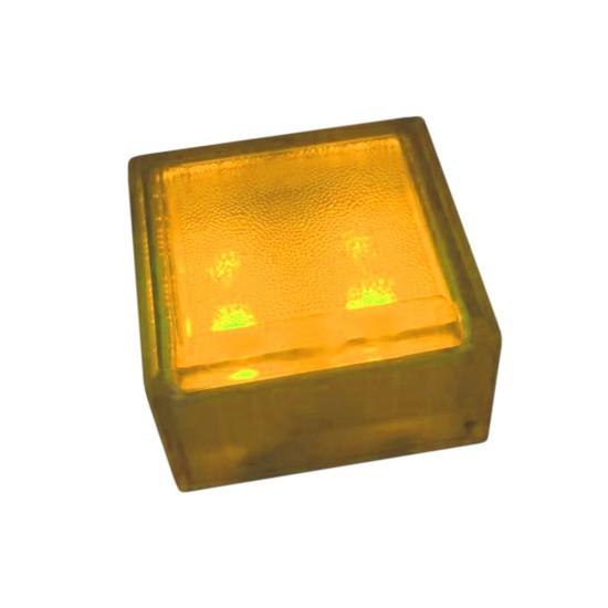 Плитка тротуарная светящаяся (светодиодная брусчатка) LED Brick, 100*100*60 мм., IP67, цвет жёлтый