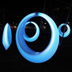 Качели светящиеся LED Ring XL, разноцветные (RGB), светодиодные, IP65, с аккумулятором