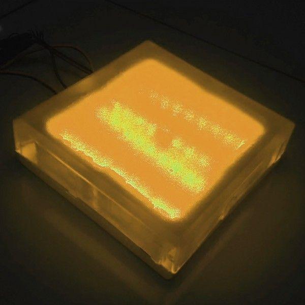 Плитка тротуарная светящаяся (светодиодная брусчатка) LED Brick, 200*200*40 мм., IP67, цвет жёлтый