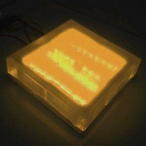 Светодиодная брусчатка LED Lumbrus, 200*200*40 мм., светильник для тротуарной плитки, жёлтый, 12V, IP68