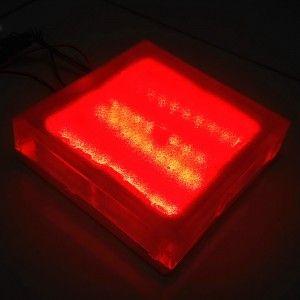 Светодиодная брусчатка LED Lumbrus, 200*200*40 мм., светильник для тротуарной плитки, красный, 12V, IP68