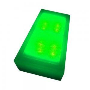 Светодиодная брусчатка LED Lumbrus, 100*200*60 мм., светильник для тротуарной плитки, зелёный, 12V, IP68