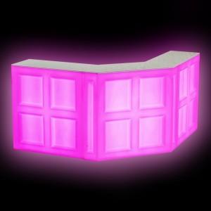Барная стойка LED Quadro, угловая секция, 137*45*110 см., разноцветная (RGB), встроенный аккумулятор