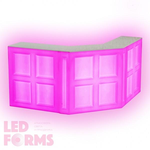 Барная стойка LED Quadro, фронтальная секция, 100*45*110 см., разноцветная (RGB), встроенный аккумулятор
