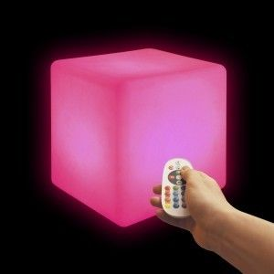 Cветильник беспроводной LED Куб 20 см., разноцветный RGB, IP68, USB, с аккумулятором