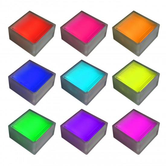 Плитка тротуарная светящаяся (светодиодная брусчатка) LED Brick, 100*100*60 мм., IP67, разноцветный (RGB)