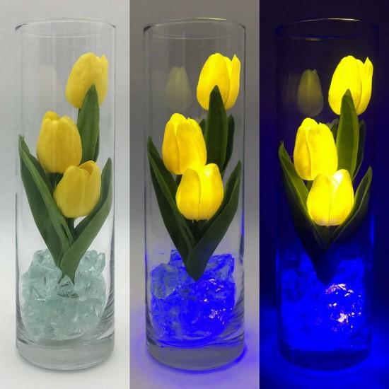 """Ночник """"Светодиодные цветы"""" LED Florarium, 3 жёлтых тюльпана с синей подсветкой"""