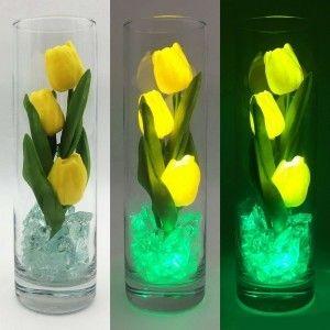 Светильник-цветы LED Florarium (жёлтые тюльпаны, зелёная подсветка), USB