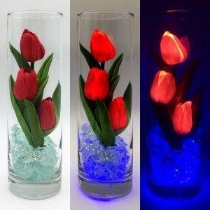 Светильник-цветы LED Florarium (красные тюльпаны, синяя подсветка), USB