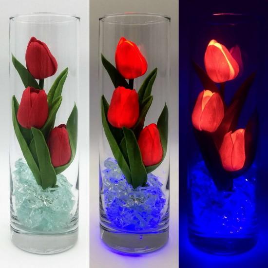 Ночник Светодиодные цветы LED FLORARIUM, красные тюльпаны с синей подсветкой вазы — Купить в интернет-магазине LED Forms