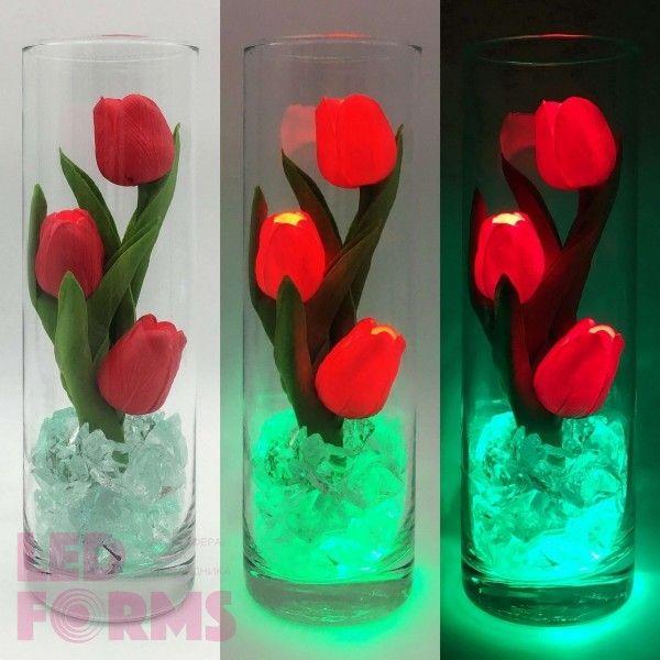 Светильник-цветы LED Florarium (красные тюльпаны, зелёная подсветка), USB