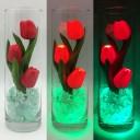 Ночник Светодиодные цветы LED FLORARIUM, красные тюльпаны с зелёной подсветкой вазы