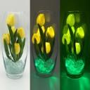Светильник-цветы LED Grace (жёлтые тюльпаны, зелёная подсветка), USB