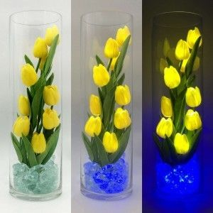 Светодиодные цветы LED Spirit, светильник-ночник, жёлтые тюльпаны + синяя подсветка, USB, 220V