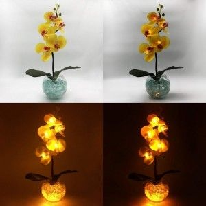 Светильник-ночник Светодиодные цветы LED Provocation, жёлтые орхидеи с жёлтой подсветкой вазы