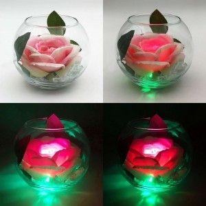 Ночник Светодиодные цветы LED Secret, розовая роза с зелёной подсветкой вазы