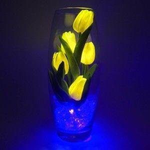 Светильник-цветы LED Grace (жёлтые тюльпаны, синяя подсветка), USB