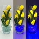 Светильник-ночник Светодиодные цветы LED Grace, жёлтые тюльпаны с синей подсветкой вазы