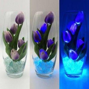 Светильник-цветы LED Grace (фиолетовые тюльпаны, голубая подсветка), USB