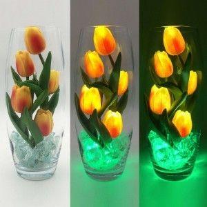 Светодиодные цветы LED Grace, светильник-ночник, оранжевые тюльпаны + зелёная подсветка, USB, 220V