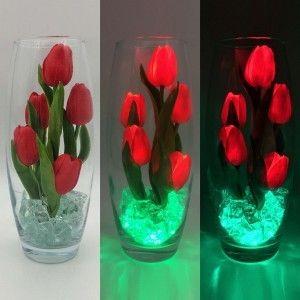 Светодиодные цветы LED Grace, светильник-ночник, красные тюльпаны + зелёная подсветка, USB, 220V