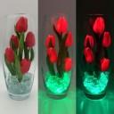 Светильник-ночник Светодиодные цветы LED Grace, красные тюльпаны с зелёной подсветкой вазы