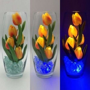 Светодиодные цветы LED Grace, светильник-ночник, оранжевые тюльпаны + синяя подсветка, USB, 220V