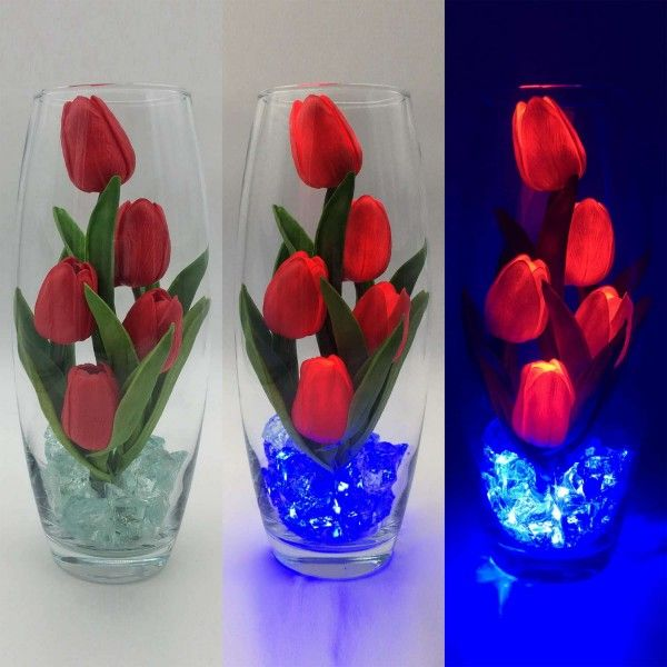 Светильник-ночник Светодиодные цветы LED GRACE, красные тюльпаны с синей подсветкой вазы — Купить в интернет-магазине LED Forms
