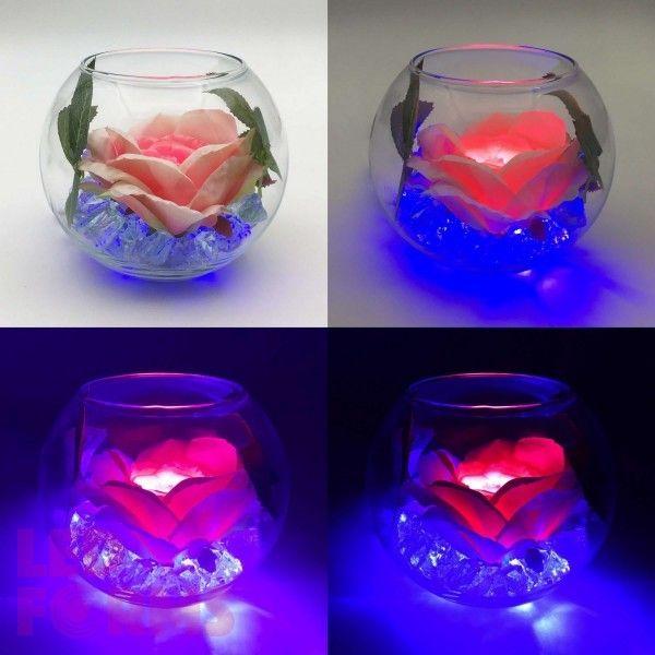 Светильник-цветы LED Secret (розовая роза, синяя подсветка), USB