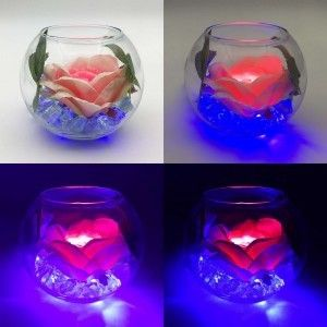 Ночник Светодиодные цветы LED Secret, розовая роза с синей подсветкой вазы