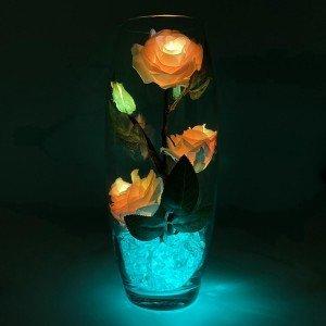 Светильник-цветы LED Harmony (жёлто-красные розы, зелёная подсветка), USB