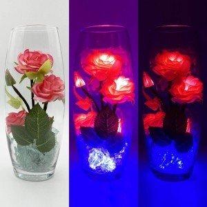 Светильник-цветы LED Harmony (красные розы, синяя подсветка), USB