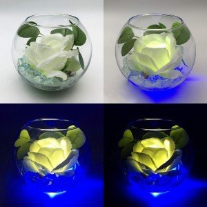 Ночник Светодиодные цветы LED Secret, белая роза с синей подсветкой вазы