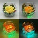 Ночник Светодиодные цветы LED Secret, жёлтая роза с зелёной подсветкой вазы