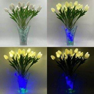 Светильник Светодиодные цветы LED Spring, белые тюльпаны с синей подсветкой вазы