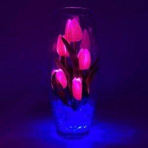 Светильник-цветы LED Grace (розовые тюльпаны, синяя подсветка), USB