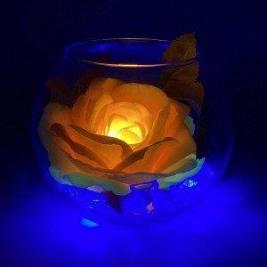 Светильник-цветы LED Secret (жёлтая роза, синяя подсветка), USB