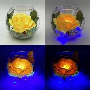 Ночник Светодиодные цветы LED Secret, жёлтая роза с синей подсветкой вазы
