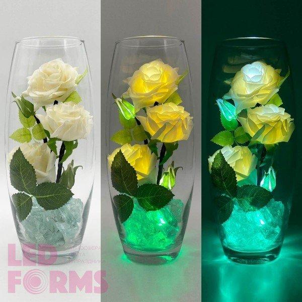 Светильник-цветы LED Harmony (белые розы, зелёная подсветка), USB