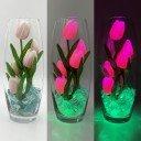 Светильник-ночник Светодиодные цветы LED Grace, розовые тюльпаны с зелёной подсветкой вазы